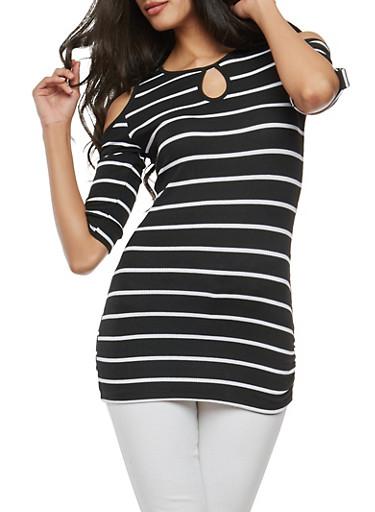 Striped Cold Shoulder Top,BLACK/WHITE,large