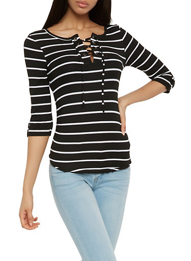 Striped Lace Up Top,BLACK/WHITE,large