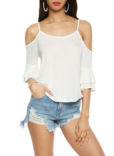 Tiered Sleeve Cold Shoulder Top,WHITE,large