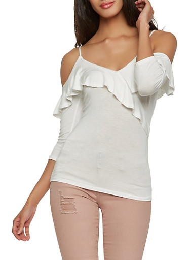 Ruffled Cold Shoulder Top,WHITE,large