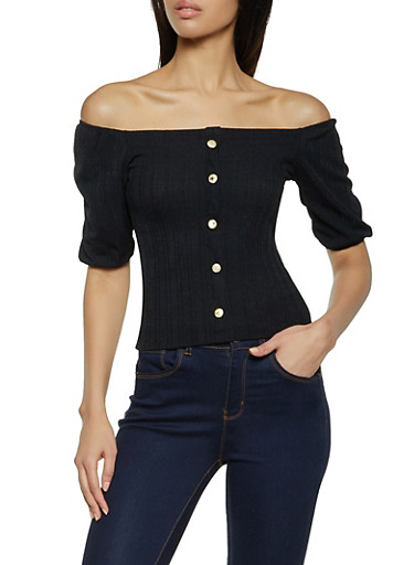 Rib Knit Gold Button Detail Top,BLACK,large