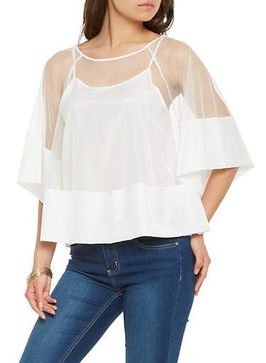 Solid Trim Mesh Top,WHITE,large