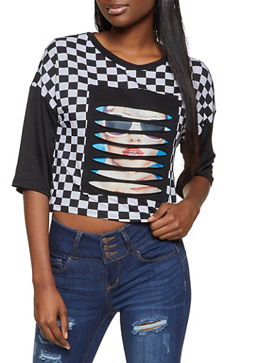 Slashed Patch Checkered Top,BLACK/WHITE,large