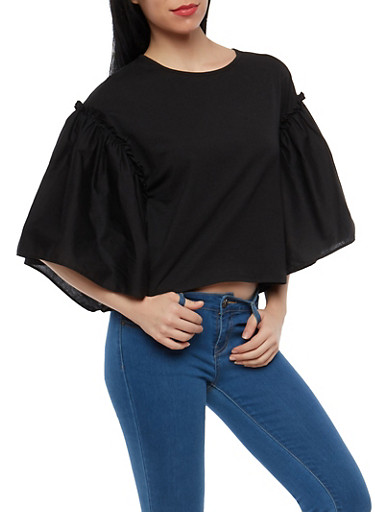 Solid Bell Sleeve Top,BLACK,large