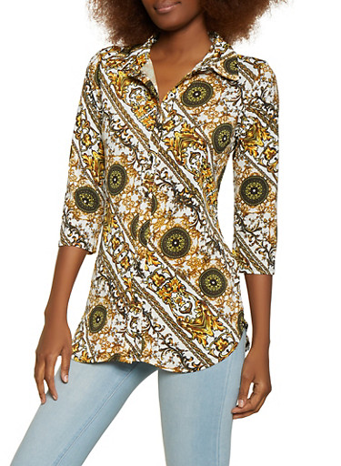 Three Quarter Sleeve Status Print Shirt,BLACK/WHITE,large