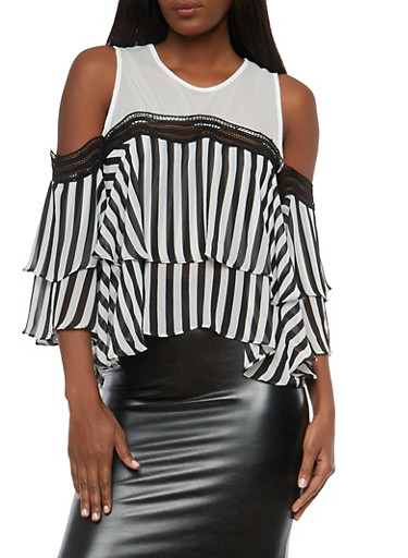Stripe Tiered Cold Shoulder Top with Mesh Detail,BLACK/WHT,large