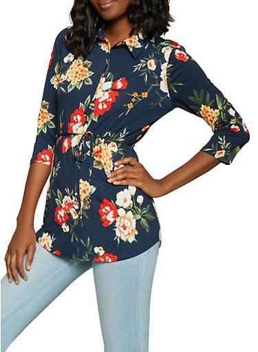 Floral Shirt,NAVY,large