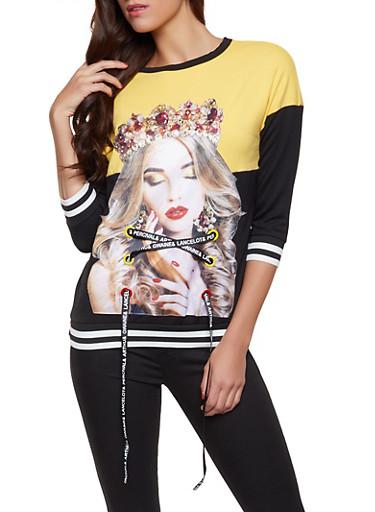 Studded Lace Up Graphic Sweatshirt,BLACK,large