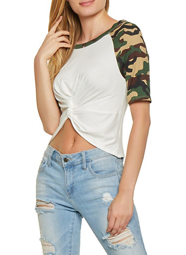 Camo Sleeve Twist Front Tee,OLIVE,large