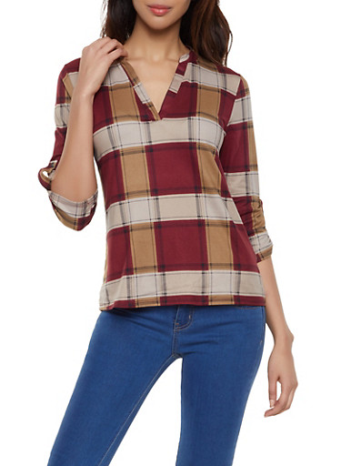 Plaid Tab Sleeve Top,BURGUNDY,large