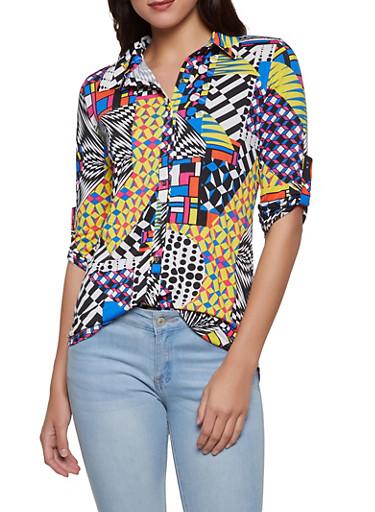 Geometric Print Shirt,MULTI COLOR,large