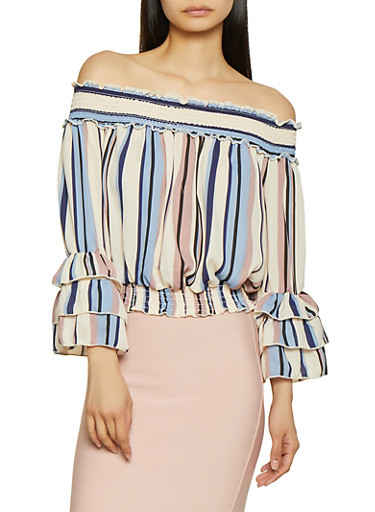 Tiered Sleeve Off the Shoulder Top,MAUVE,large
