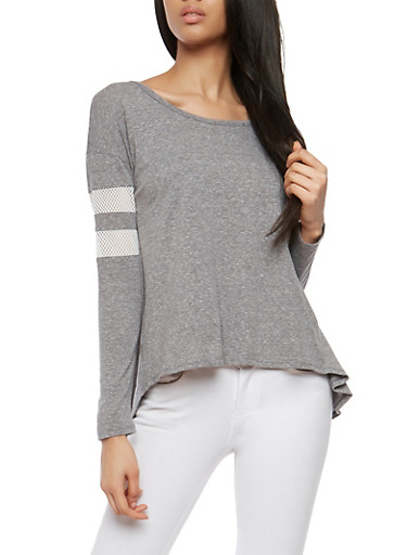Open Back Mesh Sleeve Top,GRAY,large