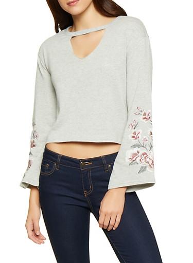 Embroidered Bell Sleeve Sweatshirt,HEATHER,large
