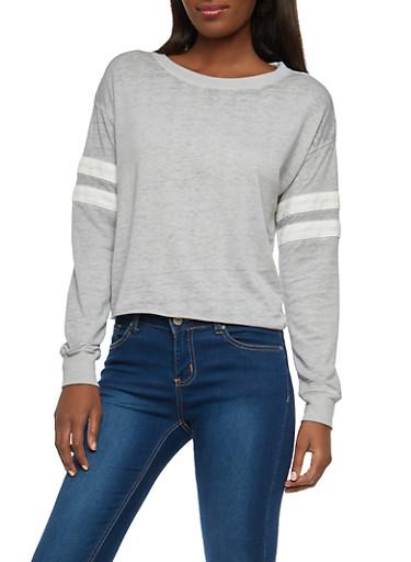 Varsity Stripe Raw Hem Sweatshirt,HEATHER,large