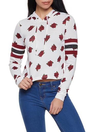 Rose Print Stripe Detail Hooded Sweatshirt,IVORY,large