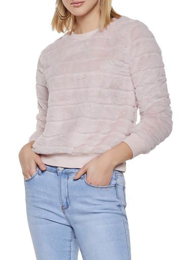 Faux Fur Sweatshirt,BLUSH,large