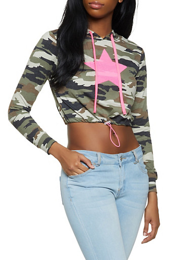 Sequin Patch Cropped Camo Sweatshirt,OLIVE,large