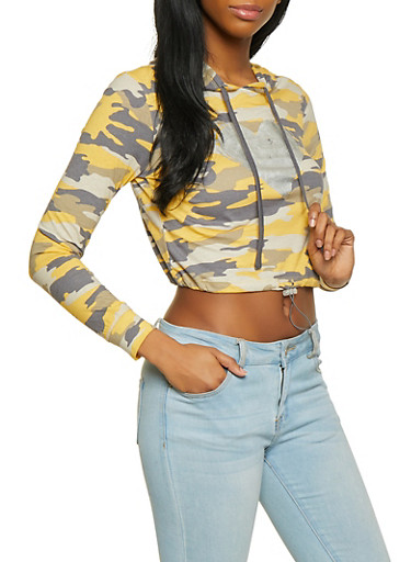 Foil Heart Camo Cropped Hooded Top,MUSTARD,large