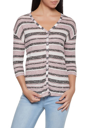 Striped Rib Knit Button Front Top,MAUVE,large