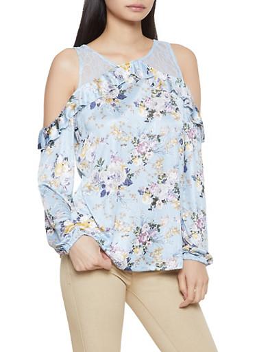 Floral Lace Cold Shoulder Top,BLUE,large
