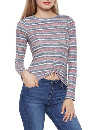 Striped Twist Front Top,WINE,large