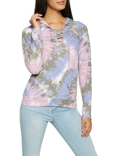 Lace Up Tie Dye Sweatshirt,LAVENDER,large