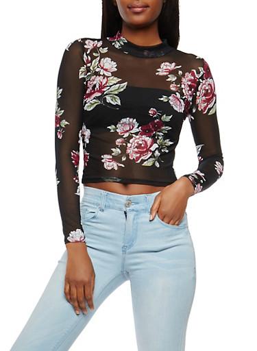 Sheer Floral Mesh Top,BLACK,large