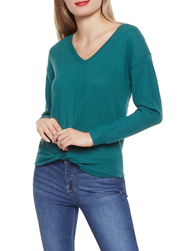 Twist Front Brushed Knit Sweater,HUNTER,large