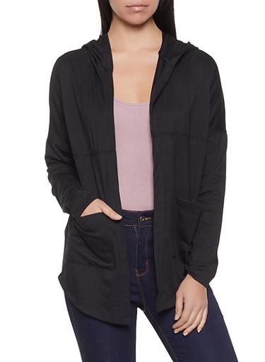 Hooded Long Sleeve Cardigan,BLACK,large