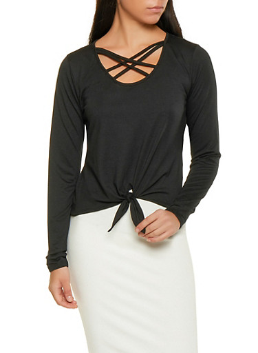 Caged Tie Front Top,BLACK,large
