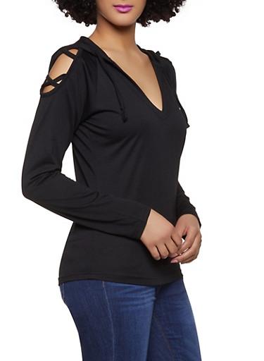 Caged Hooded Sweatshirt,BLACK,large