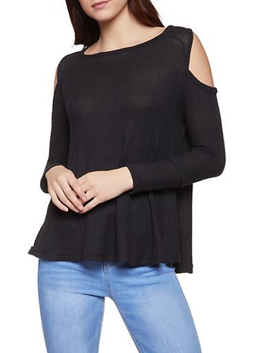 Long Sleeve Cold Shoulder Top,BLACK,large