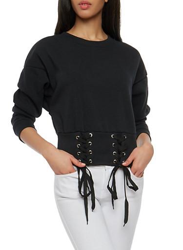 Lace Up Rib Knit Trim Sweatshirt,BLACK,large