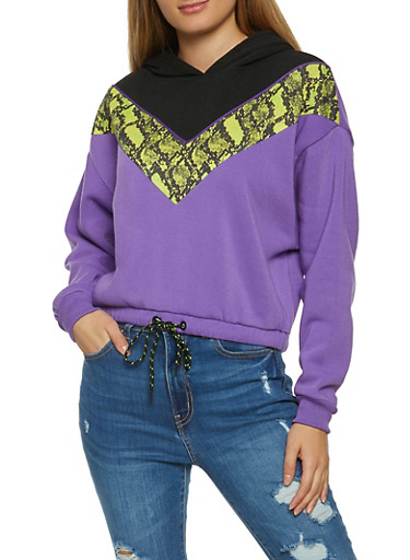 Snake Print Color Block Sweatshirt,BLACK,large