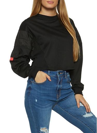 Pocket Sleeve Sweatshirt,BLACK,large