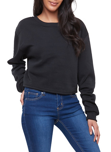Fleece Ruched Sleeve Sweatshirt,BLACK,large