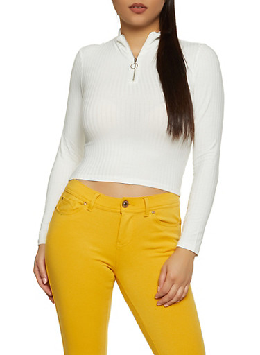 Ribbed Knit Zip Neck Top,WHITE,large