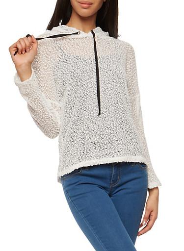Sheer Popcorn Knit Hooded Top,WHITE,large