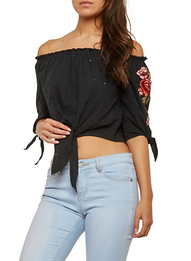 Rose Applique Off the Shoulder Crop Top,BLACK,large