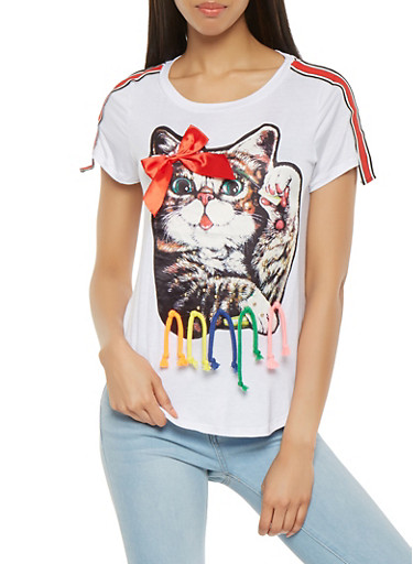 Studded Cat Graphic Tee,WHITE,large