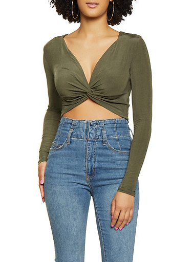 Cropped Long Sleeve Twist Front Top,OLIVE,large