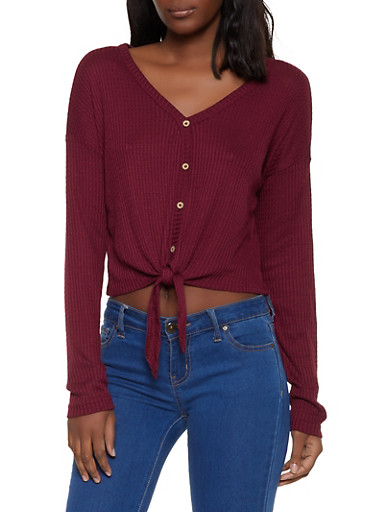 Waffle Knit Tie Front Top,WINE,large