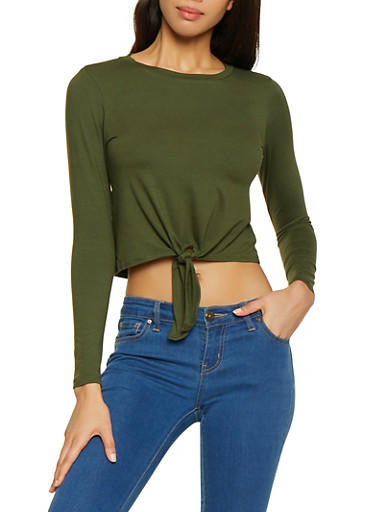 Soft Knit Tie Front Tee,OLIVE,large