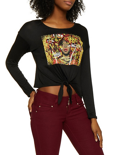 Graffiti Face Graphic Tie Front Tee,BLACK,large