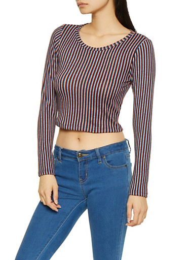 Striped Brushed Knit Crop Top,NAVY,large