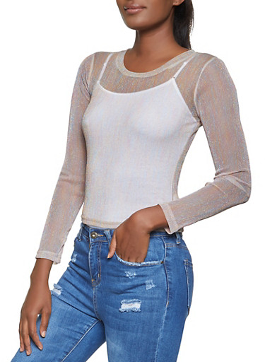 Long Sleeve Crew Neck Mesh Top,MULTI COLOR,large