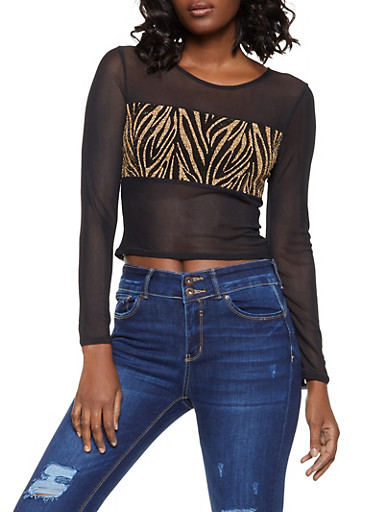Glitter Zebra Print Mesh Top,BLACK,large