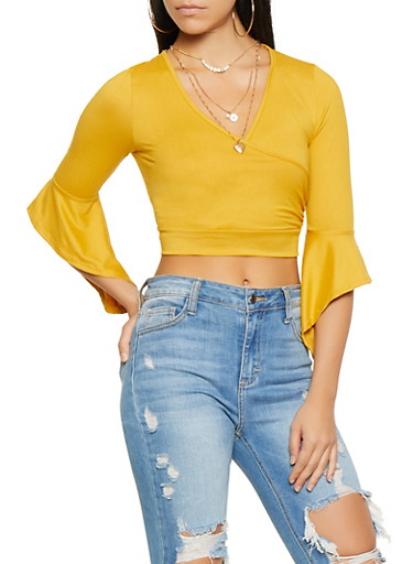 Faux Wrap Crop Top,MUSTARD,large