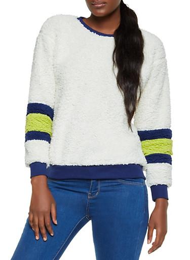Striped Sleeve Detail Sherpa Sweatshirt,IVORY,large